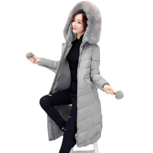 Parkas for Women Winter 2016 New Long Jackets and Coats Women Large Size thick Big Fur Hooded Padded Jacket Coat Female LH441