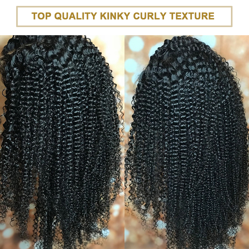 Kinky Curly Wig 250 Density Full Lace Human Hair Wigs With Baby Hair Transparent Brazilian Glueless Full Lace Wig For Women Remy