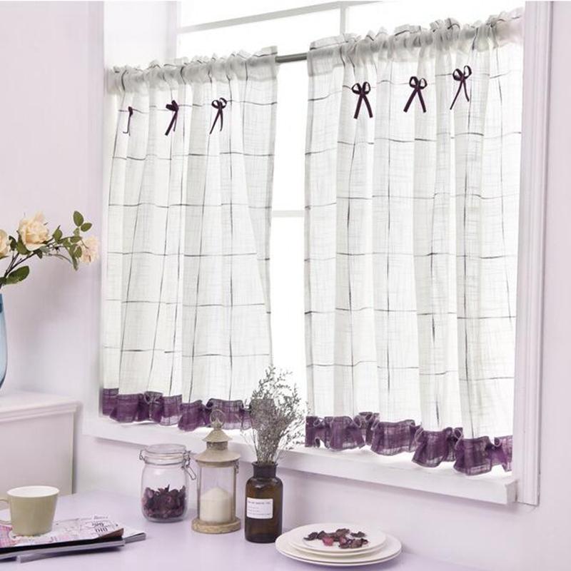 Romantic Sweet Lace Home Garden Screens Half Coffee Curtain Kitchen Dust-proof Curtains Balcony Toilet Pritition Curtain-40