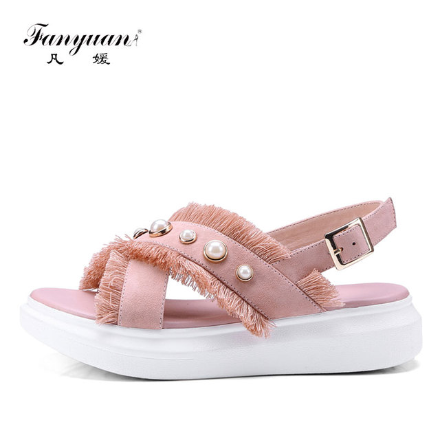 1d0795b7d Fanyuan Causal Platform Sandals Summer Women Leather Sandals Pearl Flat  Shoes Woman sandalie Fringe Bohemian Barefoot Shoes Pink