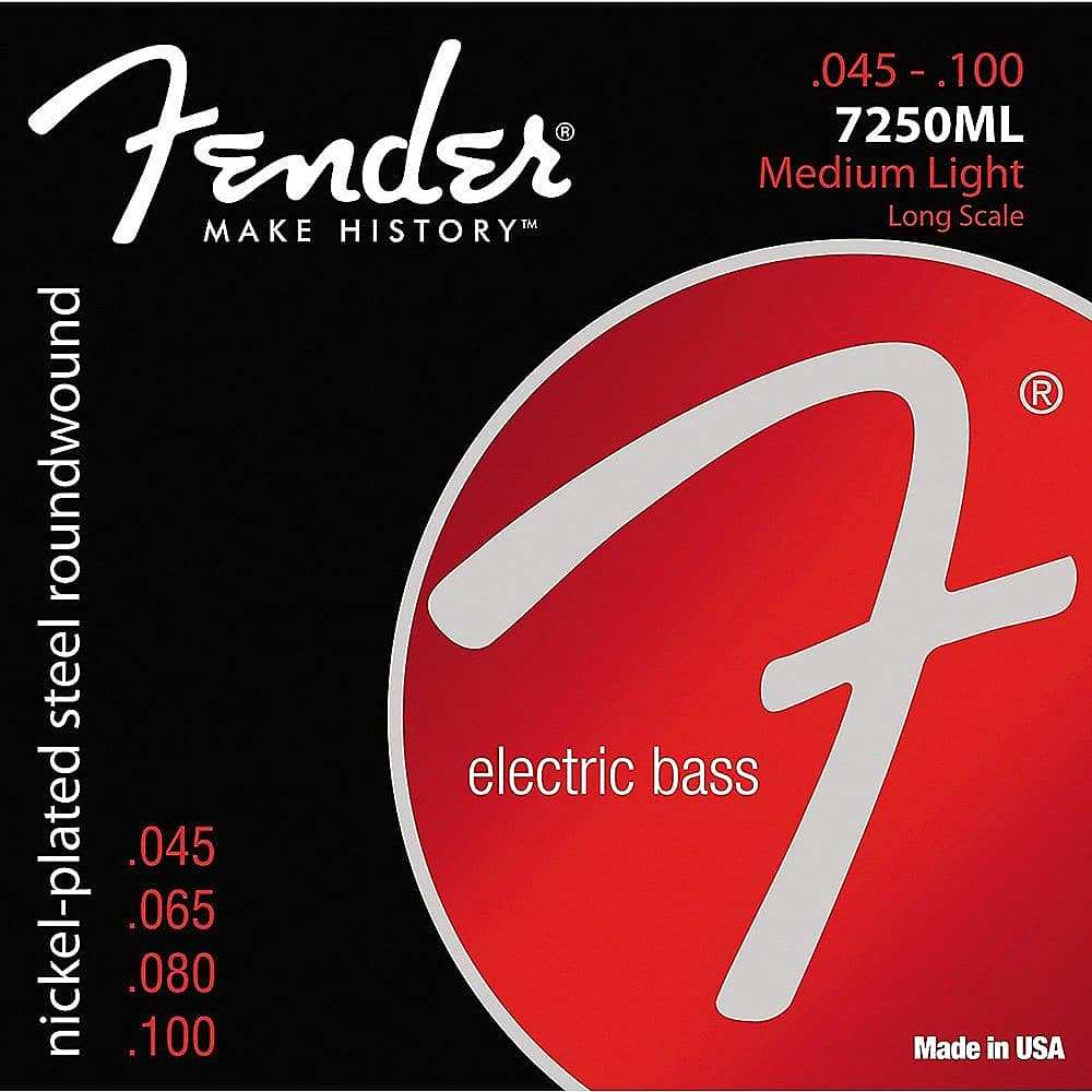 Fender 7250 Nickel Plated Steel Long Scale Bass Guitar Strings, 7250L 7250M, 7250ML, 7250HM rotosound rs66lc bass strings stainless steel