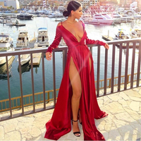 NEW Sexy Deep V Neck 2 Slits Party Dress Full Sleeved Backless Shiny Red Satin Maxi Dress Empire Open Back Nigh Club Dresses