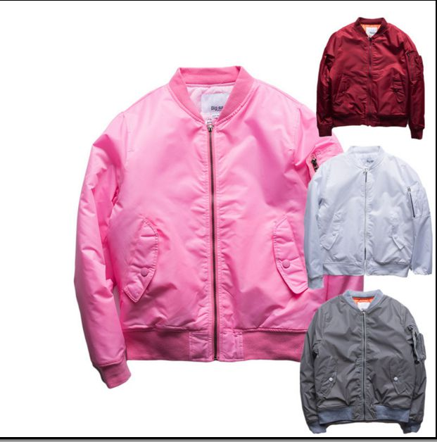 bape MA1 Bomber jacket pink men and women Tour Pilot jackets ...