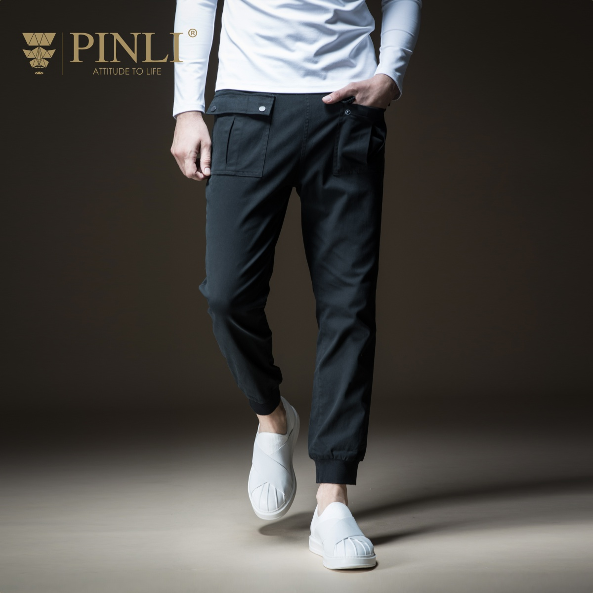 PINLI pin Li 2018 New Style Men's wear, body length, solid feet, pure leather, long pants, B183317410