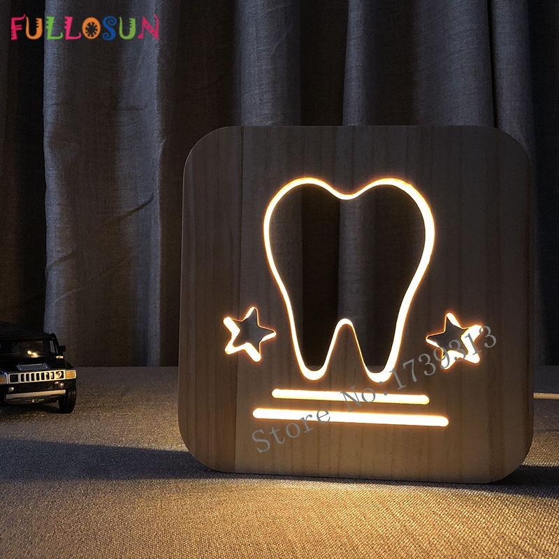 LED Table Lamp Tooth Wooden Carving Decoration Night Lamp Baby Room LED Sleep Light