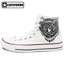 Men Women Converse All Star White Shoes Owl Original Design Custom Hand Painted High Top Canvas Sneakers Birthday Gifts