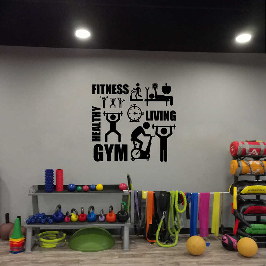 Gym Wall Sticker Barbell Fitness Decal Body Building Vinyl Posters Gym Workout Motivation Quote Wall Decals Gym Wall Decor Wall Decor Quote Wall Decalmotivational Quotes Aliexpress