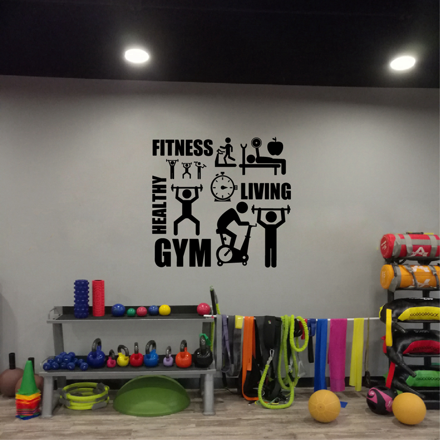 Gym wall sticker barbell fitness decal body building vinyl for Posters para gimnasios