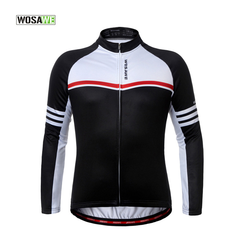 WOSAWE New Autumn Men Women Riding Jerseys Breathable Warm Outdoor Cycling Jacket Long Sleeve Thermal Fleece Sport Coat