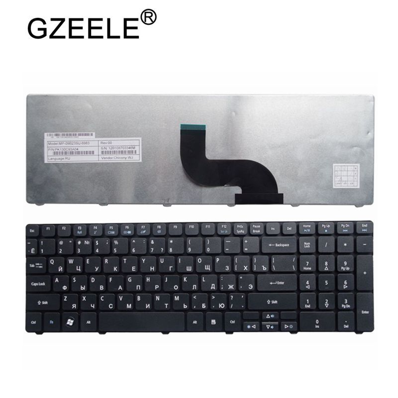 GZEELE Laptop Keyboard For ACER Aspire 90.4HV07.S0R V104730DS3 RU 9Z.N1H82.C0R PK130C92A04 AEZR7700010 NSK-ALC0R KB.I170A.164 RU
