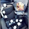 2016 nueva caja de pañuelos de moda cubierta del volante del cinturón de seguridad universal lindo bolsa de almacenamiento conjunto de espejo retrovisor del coche de la tobera de interiores