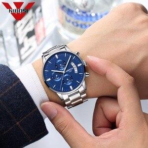 Image 3 - NIBOSI reloj azul para hombre, cronógrafo de lujo, militar, analógico, de cuarzo, Masculino