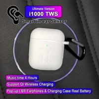 i1000 TWS In ear Smart Sensor Wireless Earphone 8D Super Sound Earbuds Pop up Bluetooth 5.0 Earphones Pk i100 i200 i800 TWS