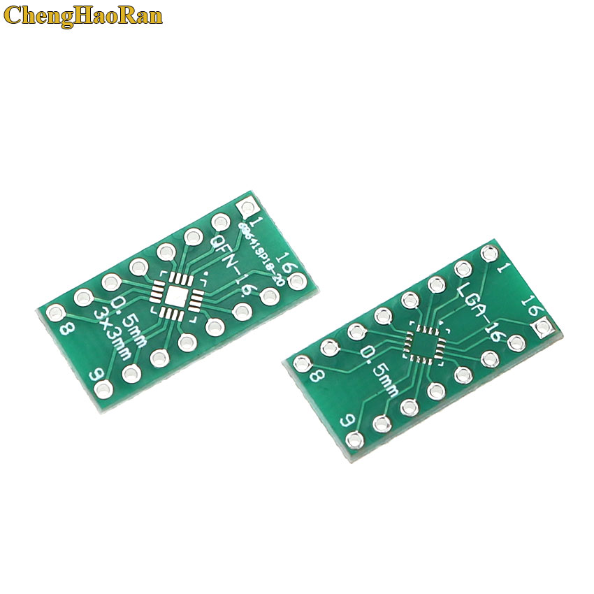 ChengHaoRan 5pcs LGA16 QFN16 Turn DIP16 0.5MM Pitch IC Adapter Socket Adapter Plate PCB Test Board Connector
