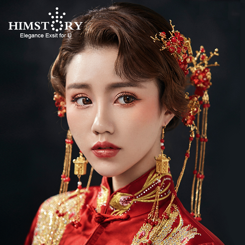 HIMSTORY Traditional Chinese Gold Small House Designs Red Pearl Flower Hair Comb Stick Wedding Bridal Hair Coronet Hair Jewelry