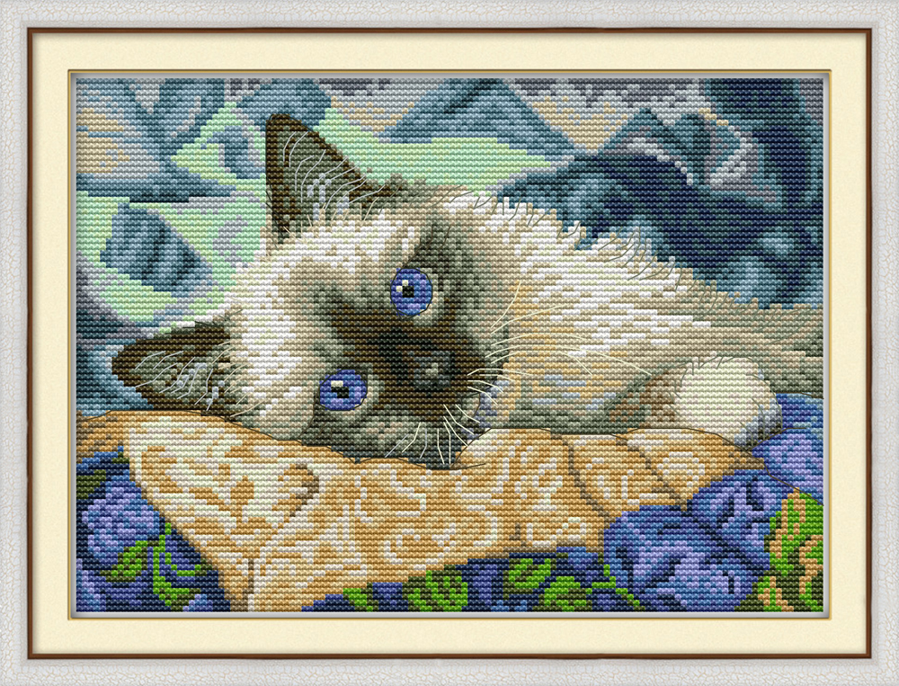 The Blue Eyes Cat Cross Stitch Kit Aida 14ct 11ct Count Printed Canvas Stitches Embroidery DIY Handmade Needlework