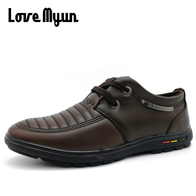clearance sale !! High quality men leather shoes Classic casual Men fashion breathable Flat shoes Lace up brown KC-623 vmuksan hot sale suede leather shoes men high quality lace up men casual shoes new style comfortable men s spring shoes
