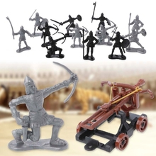 14Pcs/set Medieval Knights Toy Catapult Crossbow Soldier Figures Playset Chariot  Kids Xmas Birthday Gifts children s 28pcs set medieval knights warriors horses kids toy soldiers figures static model playset playing on sand castles