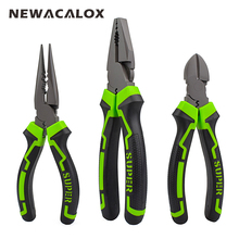 NEWACALOX 6''-8'' Multifunction Wire Pliers Set Stripper Crimper Cutter Needle Nose Nipper Jewelry Tools Diagonal  Hand Tool Set free shipping pro skit electrician cable cutter pliers diagonal wire nipper multifunction hand toolkit for electronics repair