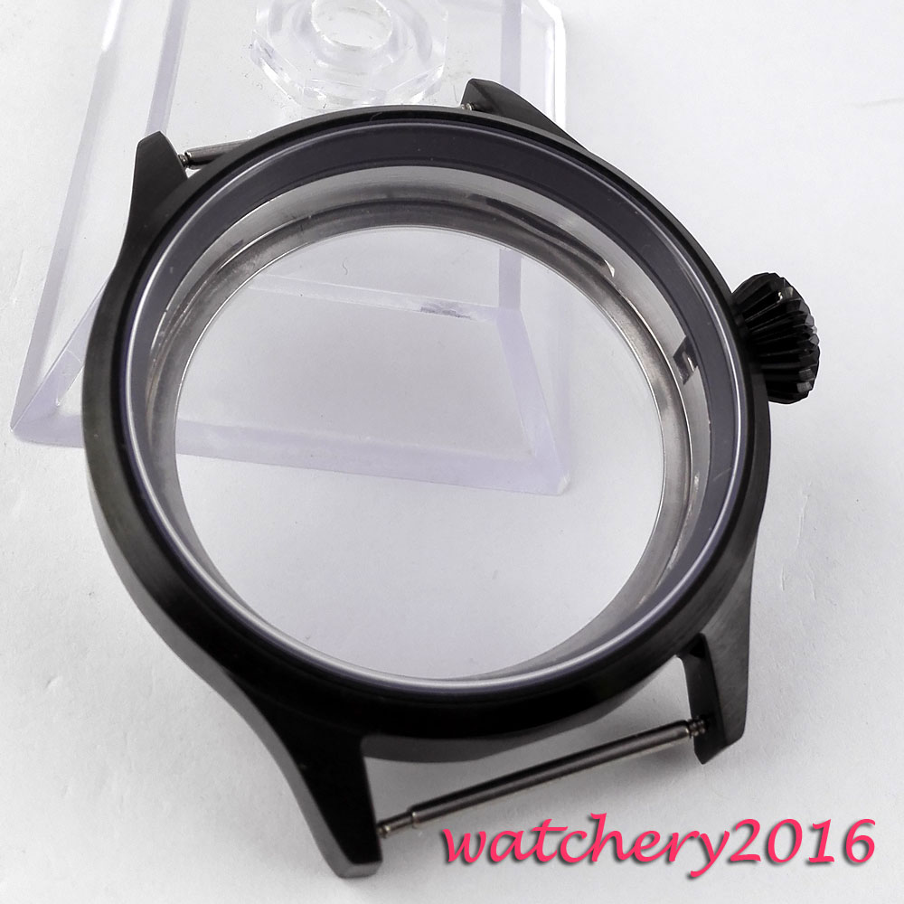 43mm black PVD Stainless steel parnis Watch CASE Brushed Bezel Sapphire Glass fit 6498 6497 movement 46mm matte silver gray stainless steel watch case fit 6498 6497 movement watch part case with mineral crystal glass