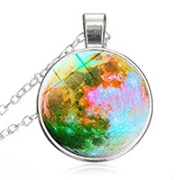 Galaxy Planet Multicolor Moon Photo Round Pendant Glass Necklace Choker Silver Plating Chain Healing Amulet