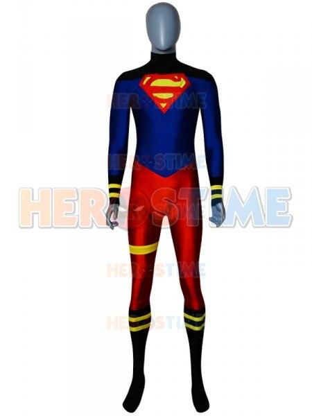 Superboy Costume Spandex Superman Superhero Cosplay Zentai suit Halloween party Super boy catsuit adults kids Custom