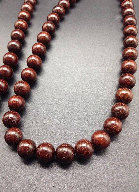 8 мм/10 мм натуральный индийский красный бисер из сандалового дерева класс AAA высокой плотности 108 Mala бусы молитвенный браслет или ожерелье DIY ... - 2