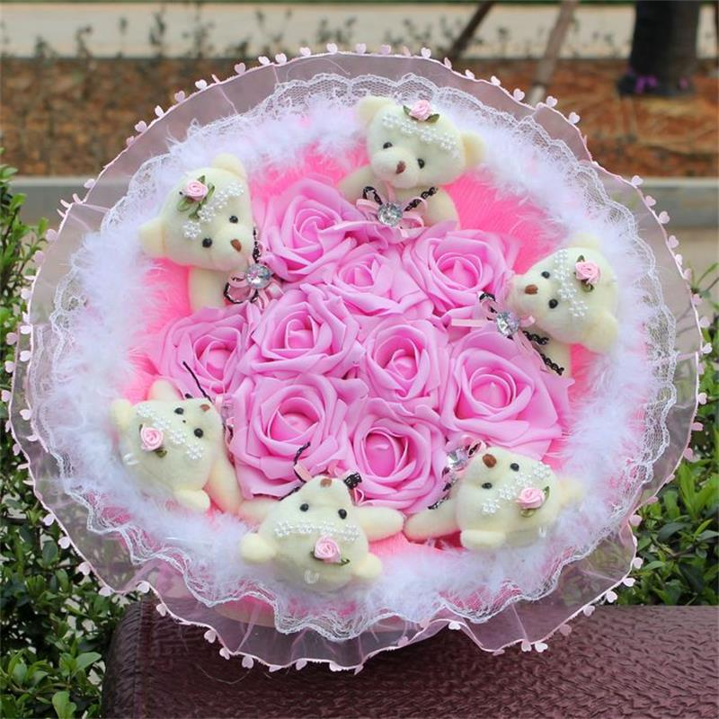 Soft Kawaii Plush Toy Cartoon Flower Bouquet Teddy Bear Doll with Fake Roses Valentine/Graduation Gift Pink/Purple/Blue 1pc 12cm kawaii lover couple valentine s day gift novelty mascot doll toy plush papa bear panda pendant for mobile phone charm