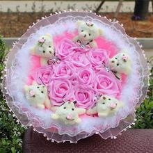 Soft Kawaii Plush Toy Cartoon Flower Bouquet Teddy Bear Doll with Fake Roses Valentine/Graduation Gift Pink/Purple/Blue