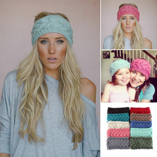 Winter Women Knitted Ear Warmer Twisted Pattern Hairband Headband