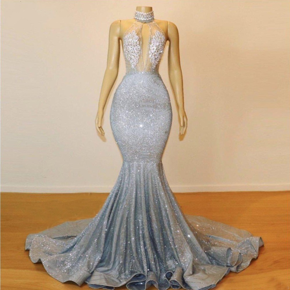 Robe De Soiree Luxurious Mermaid High Neck African Silver   Prom     Dresses   2019 Full Sequined Illusion Top Evening   Dress   Party Gown
