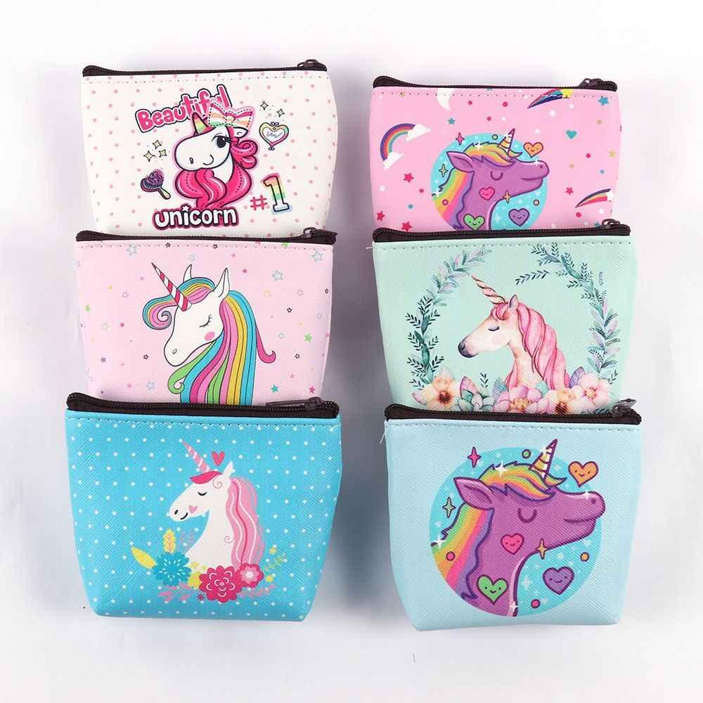 Cartera fresca con cremallera unicornio estampado Mini monedero bolsillo monedero para tarjetero cambio dinero bolsa clave moda Navidad regalo