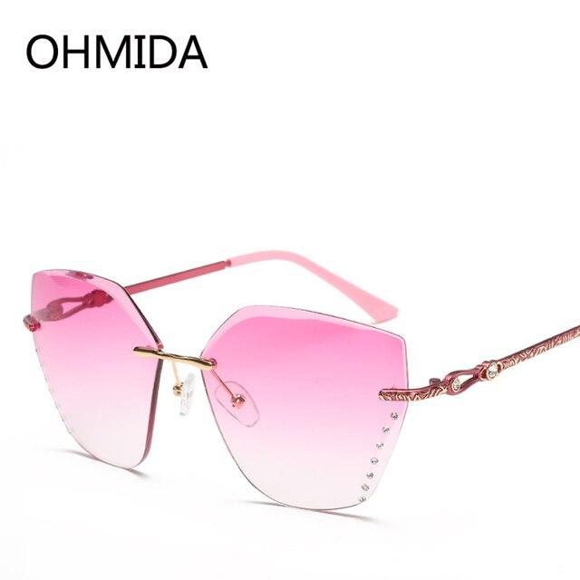 07596da246 OHMIDA Luxo Sem Aro Óculos De Sol Mulheres UV400 Shades Óculos Óculos de  Lente Gradiente de