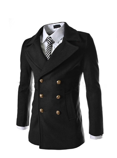 New Arrivals 2016 Autumn and Winter men s fashion metal double breasted wool coat jacket and