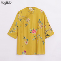 Nagodo Chinese Cheongsam Top 2019 Silk Satin Collar Dragon Chinese Shirts Ethnic Clothing Chinese Clothes Women Qipao Blouse