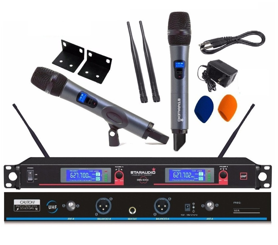 STARAUDIO 2Ch Professional DJ UHF Wireless Handheld DIGITAL DISPLAY Microphone System Mic SMU-0204A brio железная дорога с вокзалом 33028 стартовый набор
