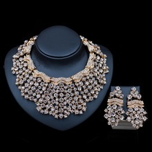XT QU Hot sale crystal necklace and drop earring jewelry set african bead wedding accessories bride