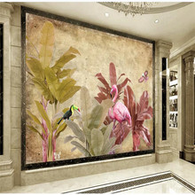 Custom wallpaper European retro banana tree flamingo background wall decoration waterproof material