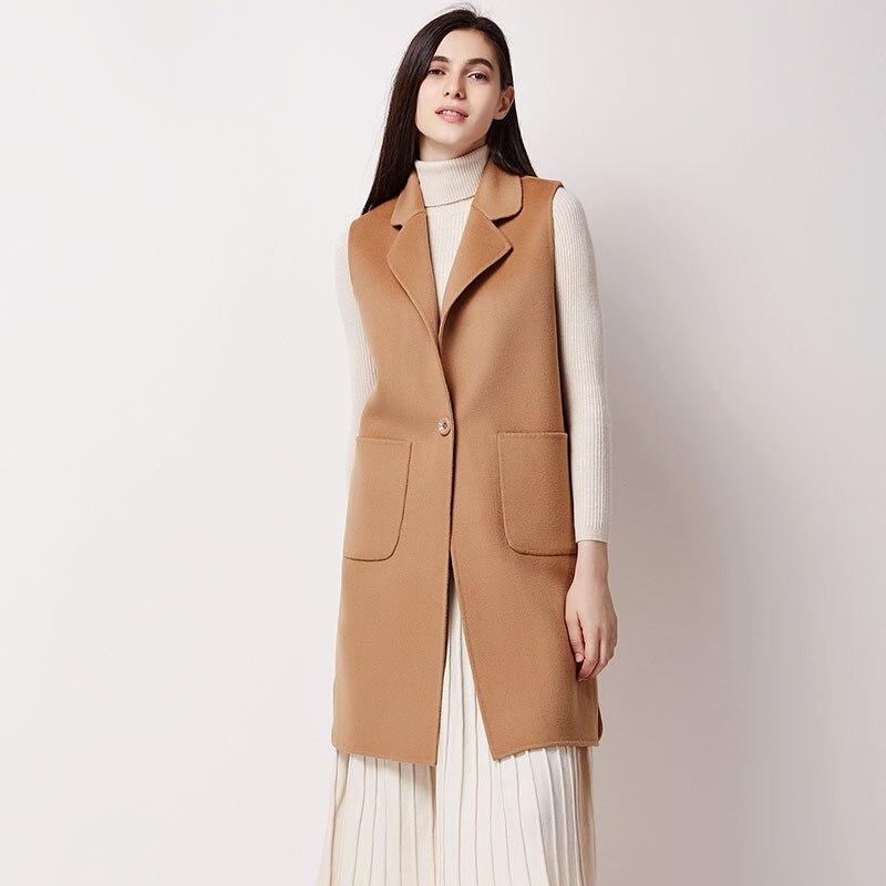 Весеннее пальто Для женщин полушерстяной жилет роковой сплошной длинный жилет женский 100% шерсть жилет без рукавов куртка