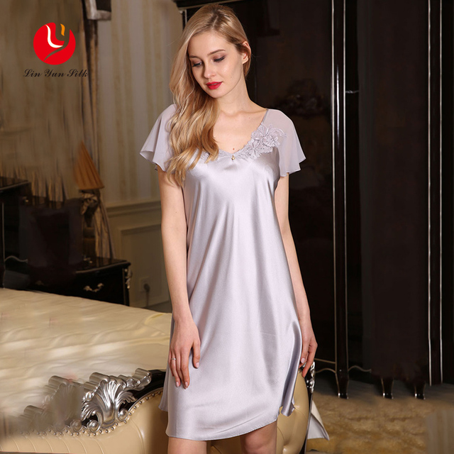 LIN YUN Women Silk Nightgown Summer Real Silk Sleepshirt Woman Sleep Sexy V Neck Sleepwear Short Sleeve Comfortable Homewear