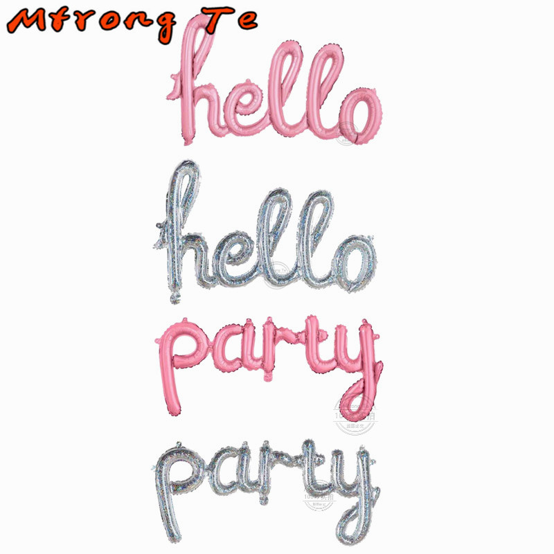 giant size laser silver baby pink hello party letter foil balloons crazy birthday party decoration supplies baby shower balls