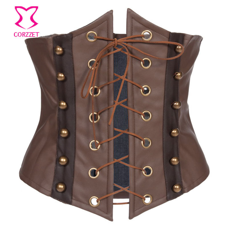Brown Leather   Corset   Underbust Gothic Spartilho Latex Waist Cincher Corpete Women Cupless   Bustiers   &   Corsets