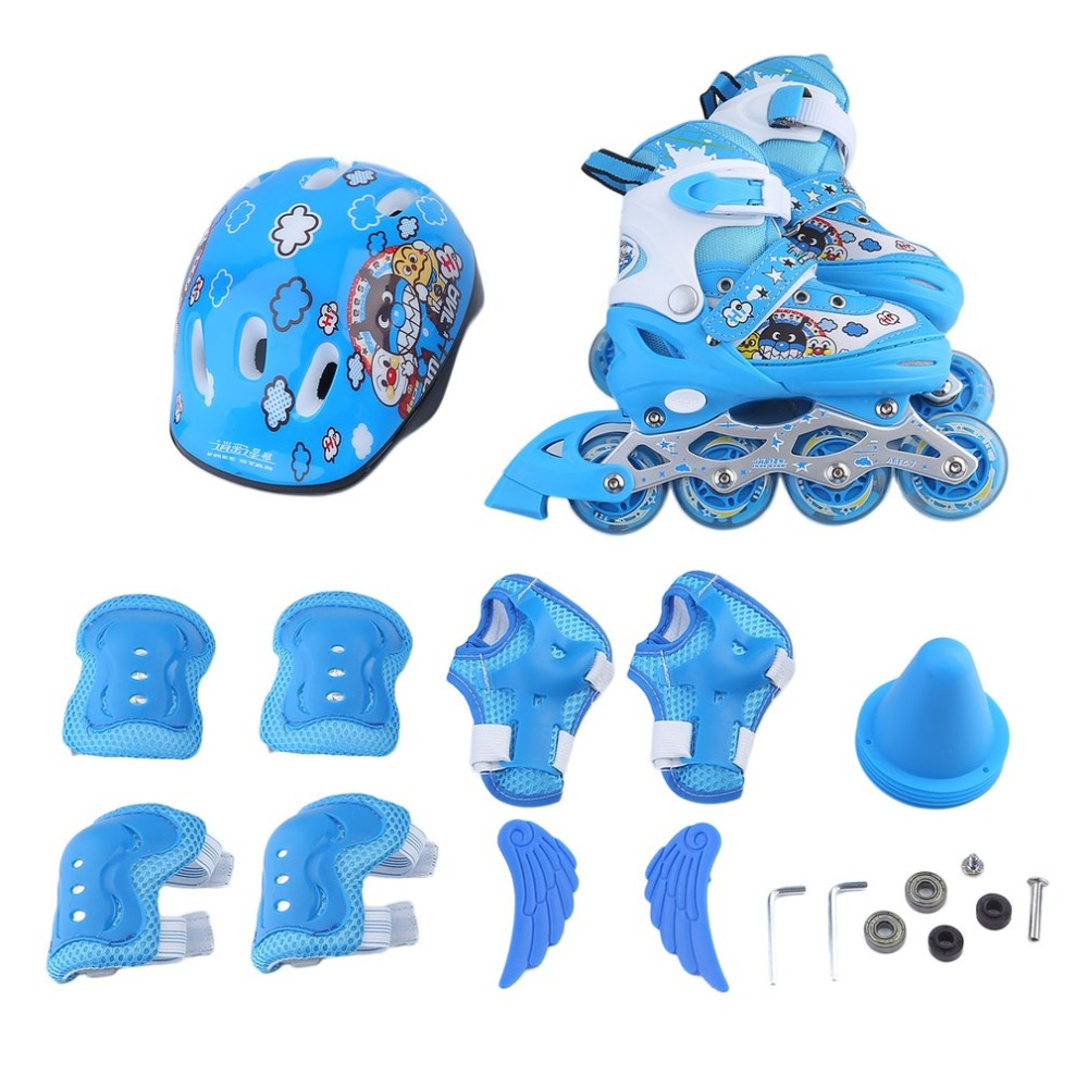 Children Kids Inline Speed Skates Roller 4 Wheels Skating Shoes+ Protective Bracers Set + Helmet Fun Game Great Gift