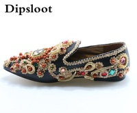 2017 Retro Style Jeweled Crystal Pointed Toe Flat Shoes Luxury Pointed Toe Rhinestone Party Shoes Slip