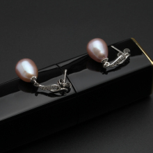 Natural freshwater pearl earrings 925 sterling silver