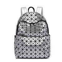 New Arrivals Women Laser Backpack Diamond Lattice Shoulder Bag Geometry Quilted Pearl Backpacks For Teenagers Mochila