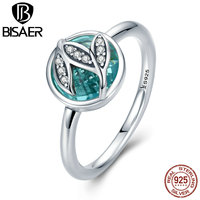 BISAER 925 Sterling Silver Spring Collection Fresh Style Green Transparent Glass with Leaves Rings for Women Jewelry ECR105