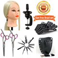 "#613 30% Real Hair 24""Cosmetology Training Head Mannequin Head +Salon Tools Kits"