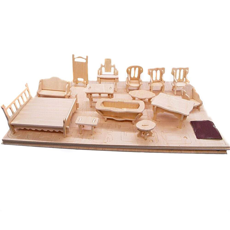 Mini Dollhouse Furniture Puzzle 3D Wooden Toys For Children DIY Building Model Puzzle Games Toys Home Model Popular Toy