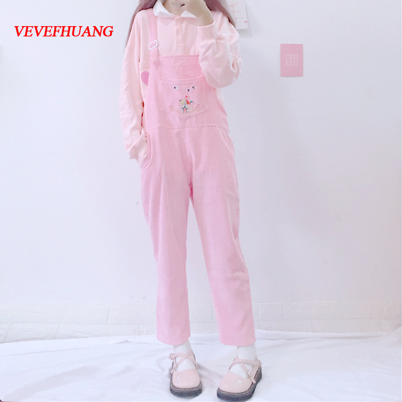 Spring Fashion Corduroy Rompers Womens Japanese kawaii Cartoon Bib Pockets Pink Overalls Cute Casual   Jumpsuit   Vintage Pants